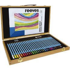 Reeves Art Set Wooden Box Watercolour Pencil 34 Piece