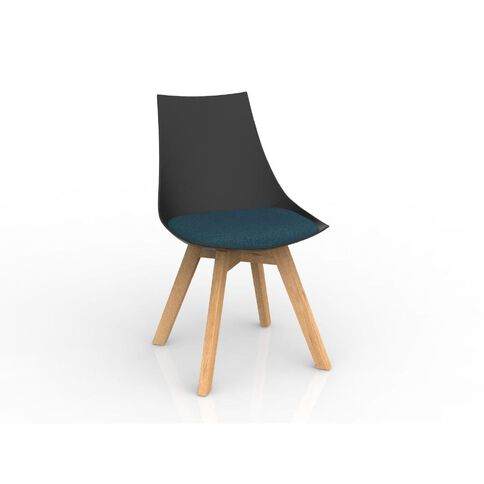 Luna Black Deep Blue Oak Base Chair Black/Blue