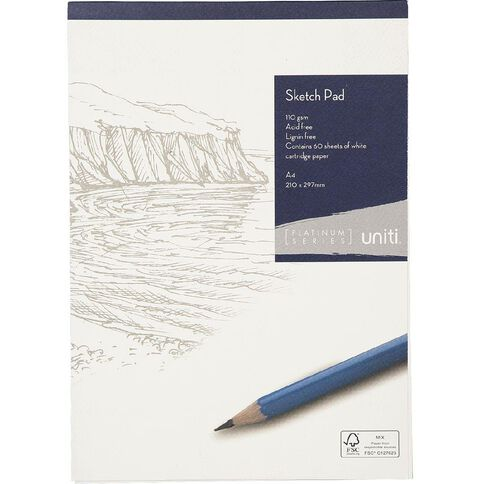 Uniti Platinum Sketch Pad 110gsm A4 60 sheets