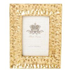 Living & Co Frame Resin Hammered 4x6inch 19x2x24cm Gold