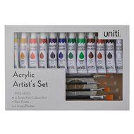 Uniti Acrylic Paint Palette and Brush Box Set
