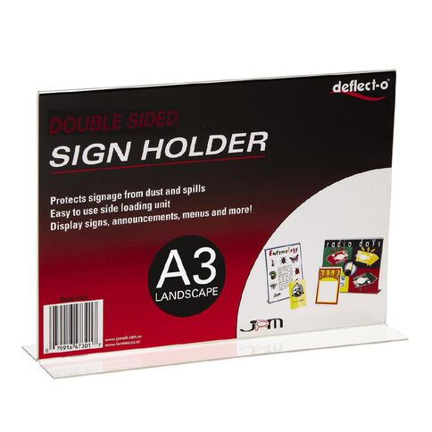 Deflecto Sign/Menu Holder Double-Sided Landscape Clear A3