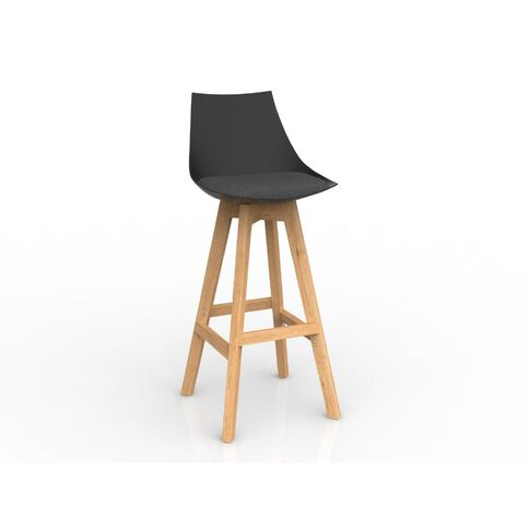 Luna Black Charcoal Grey Oak Base Barstool Charcoal