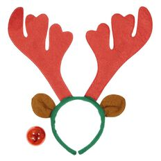 Wonderland Reindeer Antlers Headband with Flashing Nose