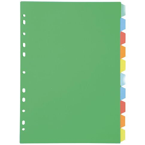 Dividers PP 10 Tab Multi-Coloured A4