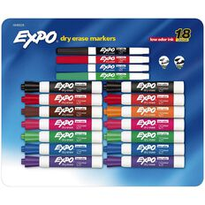 Expo Whiteboard Markers Low Odour 18 Pack Multi-Coloured
