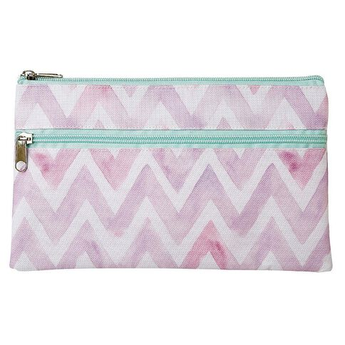 Warehouse Stationery 2 Pockets Pencil Case Chevron