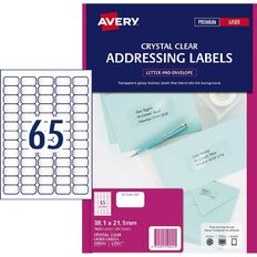 Avery Address Labels Crystal Clear 1625 Labels