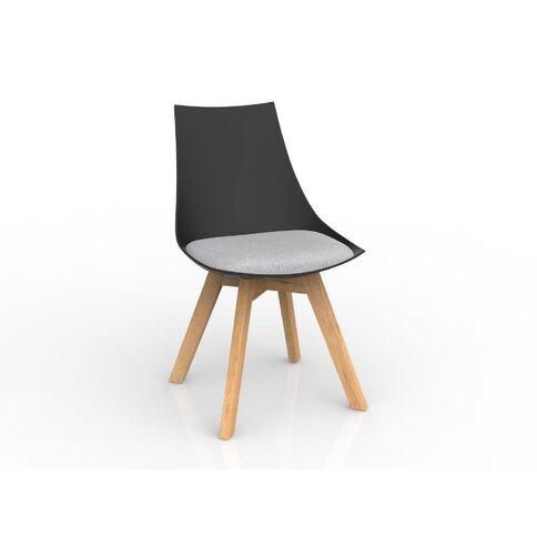 Luna Black Ash Oak Base Chair Grey