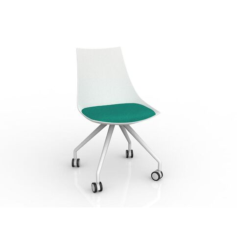 Luna White Emerald Chair Green