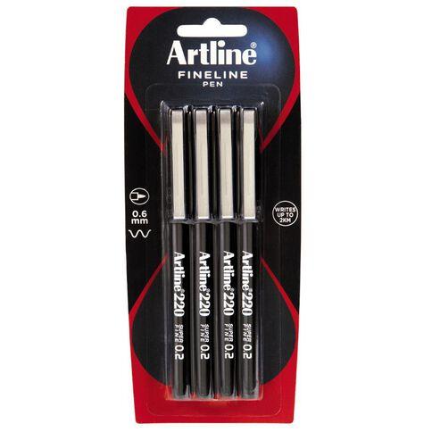 Artline Pen 200 Fine Black 4 Pack