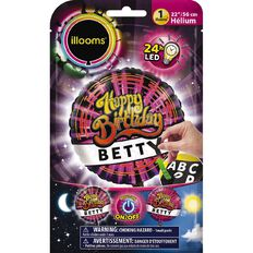 Illooms Light Up Foil Balloon Personalised Birthday 56cm