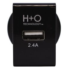 H+O USB Single 2.4A Wall Charger Black