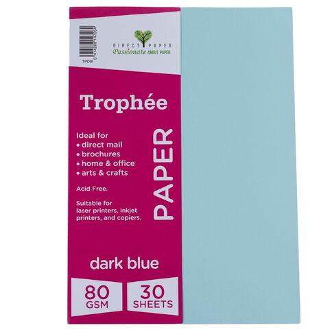 Trophee Paper 80gsm 30 Pack Blue Dark A4