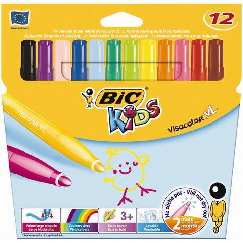 Bic Kids Visacolour XL Markers 12 Pack