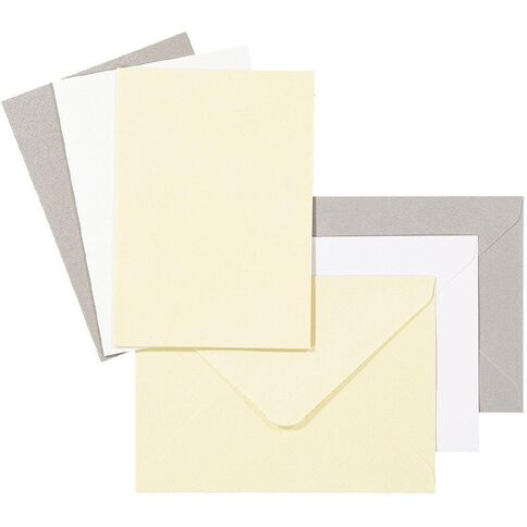 Uniti Card & Envelopes C6 6 Pack Pearlized Ivory
