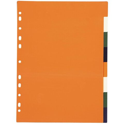 Office Supply Co 8 Tabbed File Divider Polypropylene Multi-Coloured A4
