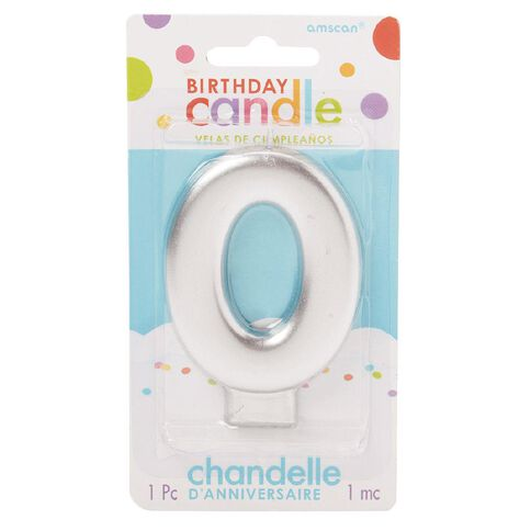 Candle Metallic Numeral #0 Silver