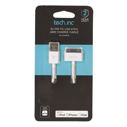 Tech.Inc 30 Pin Cable White 1m