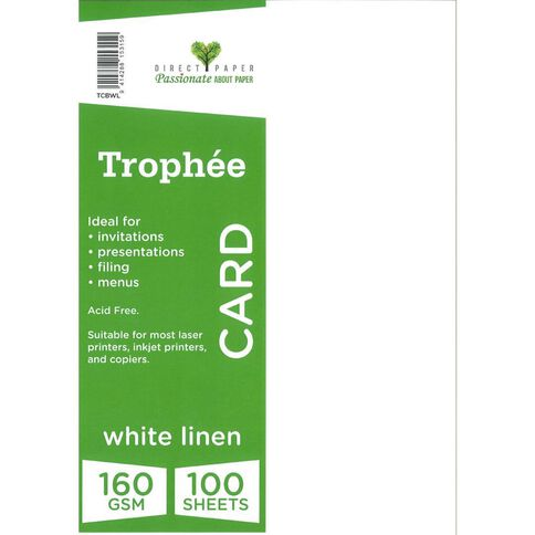 Trophee Card 160gsm 100 Pack Linen White A4