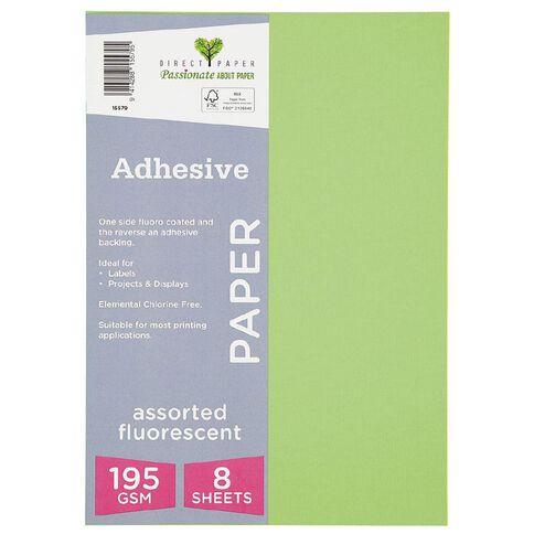 Direct Paper Adhesive Fluoro Assorted Colours 8 Pack A4