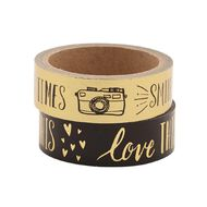 Uniti Washi Tape Black/Gold 2 Pack