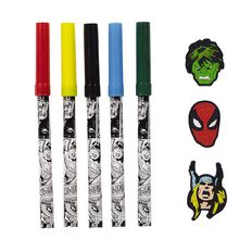 Marvel Kids Avengers Markers With Ring Topper Set 5 Pack