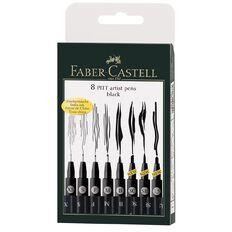Faber-Castell Pitt Artist Pens Black 8 Pack