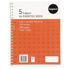 Impact 5 Subject Book A4 7mm Ruled Spiral 150 Leaf Wiro