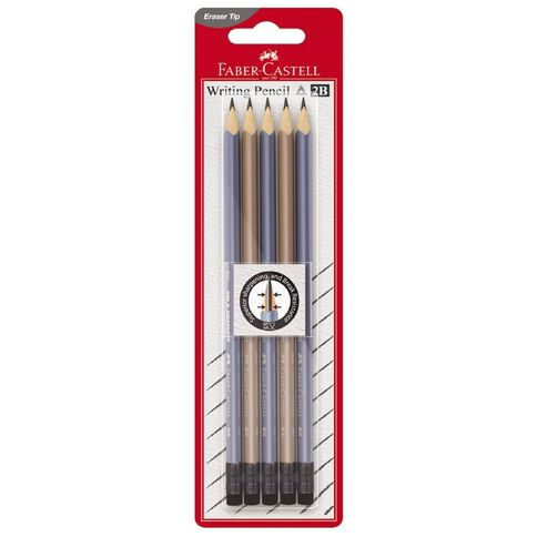 Faber-Castell Eleganz Rubber Tip 2B Pencil 5 Pack Multi-Coloured