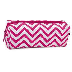 Pencil Case Simple Chevron Pink