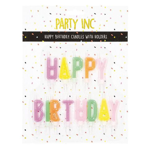 Party Inc Happy Birthday Candles in Holder Multi-Coloured Assorted