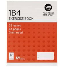 WS Exercise Book 1B4 7mm Ruled 32 Leaf Red