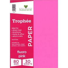 Trophee Paper 80gsm 30 Pack Fluoro Pink A4