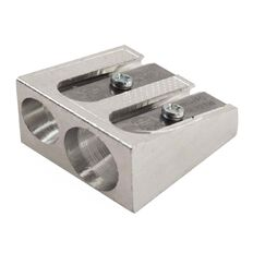 Impact Pencil Sharpener 2 Hole Metal Silver