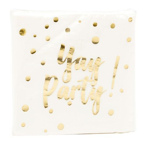 Party Inc Metallic Foil Confetti Printed Napkins 30 Pack