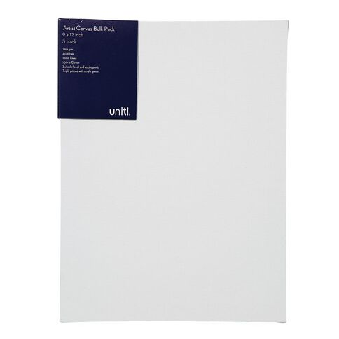 Uniti Blank Canvas 280gsm 9in x 12in 3 Pack