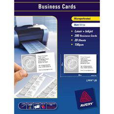 Avery Business Cards Pyo L7414-20 Matt 150Gsm 200 Pack White White