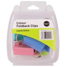 Impact Foldback Clips 32mm 6 Pack Colour