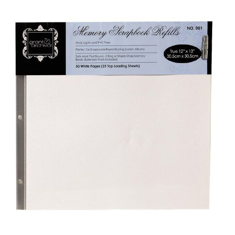 Grants Scrapbook Album Refill Pages 12 X 12 50 Pack White