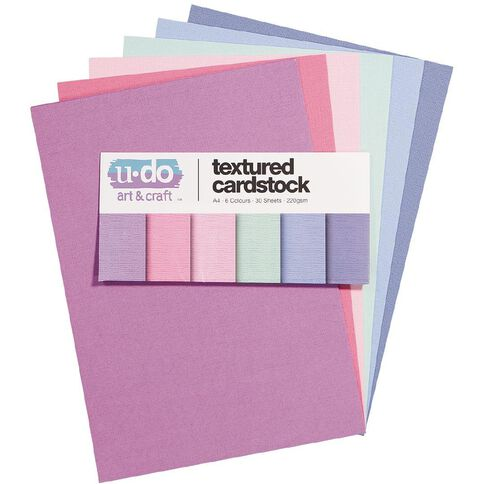 U-Do Value Cardstock Textured 216gsm 30 Sheets Pastel A4