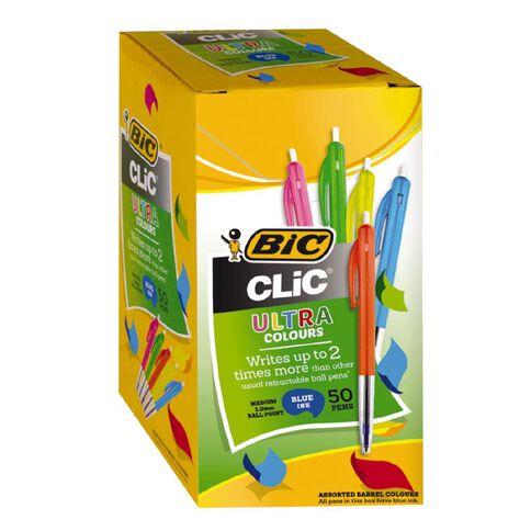 Bic Pen Clic Medium 50 Pack Blue