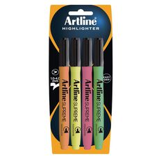 Artline Supreme Highlighter 4 Pack Multi-Coloured
