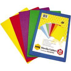 Marbig Manilla Folders Foolscap 20 Pack Assorted