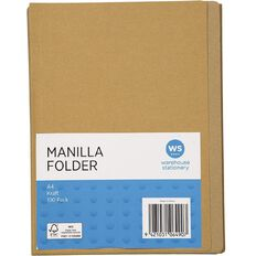 WS Manilla Folders 100 Pack Kraft A4