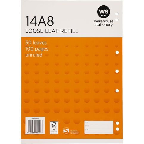 WS Pad Refill 14A8 Blank 50 Leaf Punched Orange