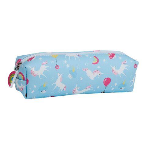 Kookie Bright Pencil Case Barrel Unicorn Blue