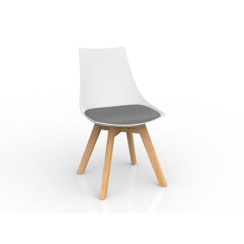 Luna White Stone Grey Oak Base Chair Grey