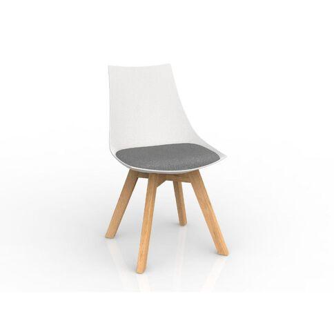 Luna White Stone Grey Oak Base Chair Grey