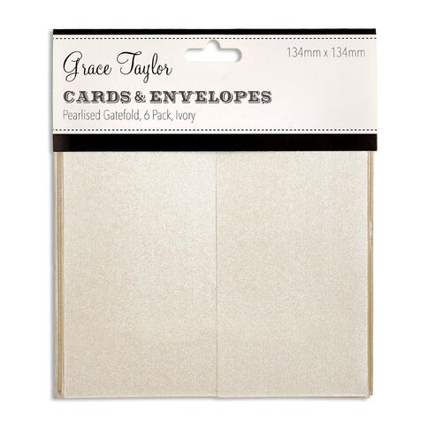 Grace Taylor Cards and Envelopes Ivory 6 Pack Clear